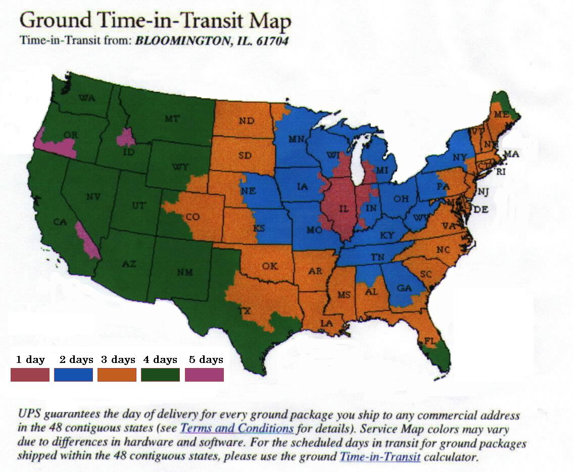 Ups Delivery Time Map UPS Time In Transit Map Ups Delivery Time Map